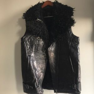 H&M 2013 collection oversized moto leather vest